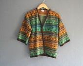 70s Kimono Sleeve Fair Isle Cardigan