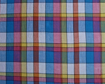 Madras Plaid Pastel Fabric 5 and one half yd x 45 in