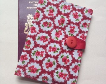 Passport cover case vintage red rose style cath kidston syle fabric travel wallet