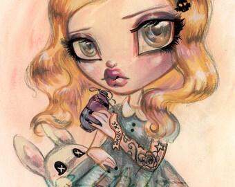 Alice in Wonderland Drink Me - Tattoo Girl - ORIGINAL   Fine Art Print by Natasha Wescoat 8x10 12x16 13x19 16x20