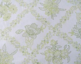 Half Yard of Vintage Sheet Fabric - Green Framed Floral