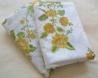 Vintage Sheets - Mustard Rose - 2 Piece Twin or Single Sheet Set