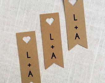 Heart Banner Die-cut Kraft Paper Tags, Custom Gift Tags - Set of 25 - wedding invitation decoration - wedding favor tags