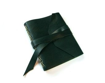 Large Leather Journal with Lined Pages and Double Wrap Tie in Teal
