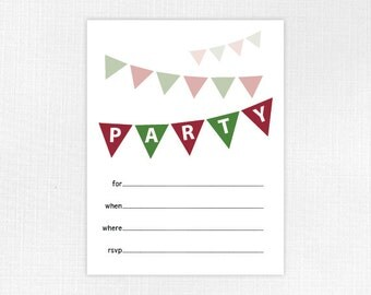 Cute Christmas Fill-In Party Invitation, Printable PDF