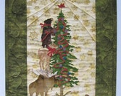 Christmas Art Quilt - Quilted Wall Hanging - Handmade Christmas Decor