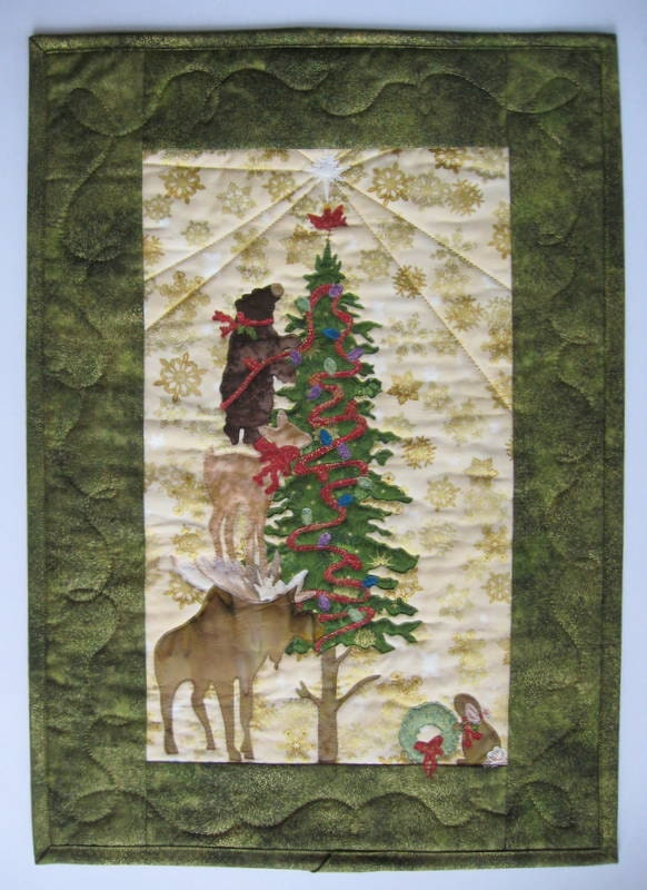 Christmas Art Quilt Quilted Wall Hanging Handmade