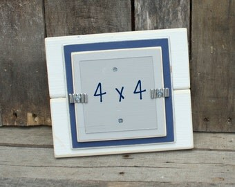"""4x4 Picture Frame - Distressed Wood Edges - Double Mats - Holds a 4"""" x 4"""" Photo - White, Navy Blue & Light Gray"""