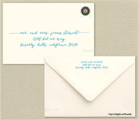 Custom Wedding Digital Calligraphy Envelope Addressing - City's Delight