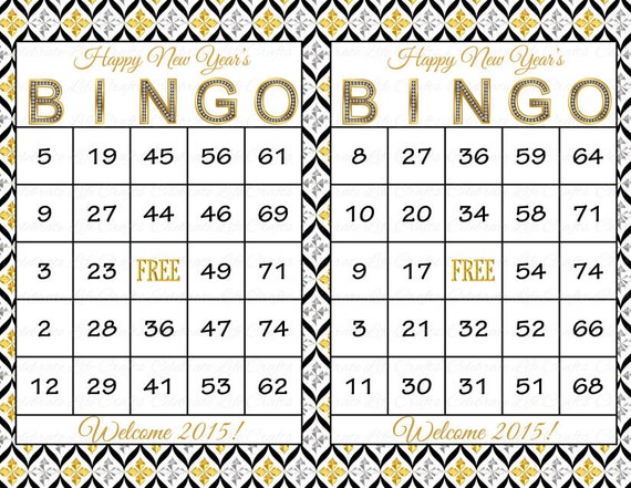 happy new year card game items similar to 100 new year s bingo cards diy printable game for new year s 2015 party