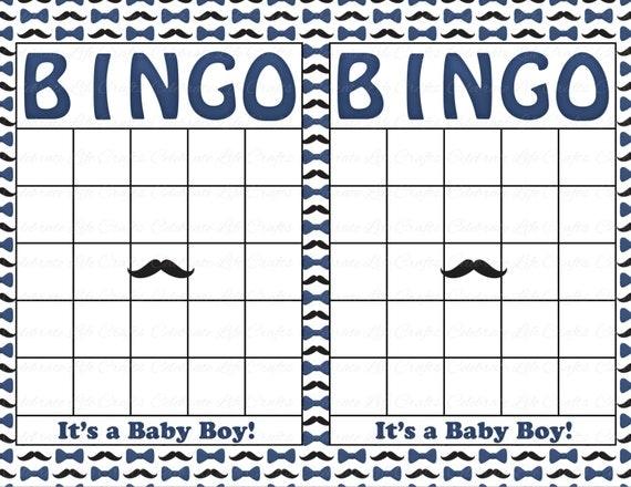 Blank Baby Ser Bingo Cards Mustache Theme Printable