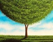 Green Tree Art Print, Giclee Print of Landscape Painting, Modern Minimalist Art, Whimsical Art Wall Decor, Print of Canvas Art
