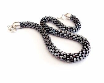 Geometric Jewel/Statement Necklace/Metallic Hematite Rope Necklace/Valentine's Day Gift/High Fashion Jewel/Crocheted Necklace