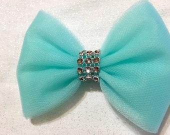 Aqua blue blue tulle hair bow - hair bow clip - turquoise tulle bow clip - pretty bow - hair accessory
