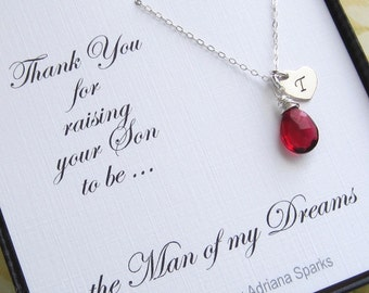Mother of the Groom Personalized Necklace/Birthstone Initial Neklace/Mom Thank you card, Bridal Party Thank you gift/Silver Intial Necklace