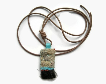 Talisman Textile Necklace. Hand Embroidered Amulet. Bohemian Necklace. Turquoise. Metallic Gold. Brown Fringe