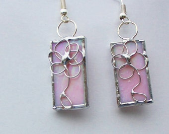 Stained Glass Earrings Pink Irredescent Original Handcrafted Jewelry Made in the USA
