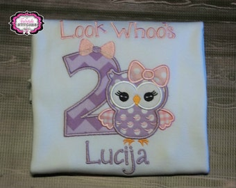 Look Whoo's, Look Whoo's Two, Owl Birthday Shirt, Owl Birthday