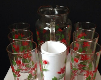 Pitcher and Tumblers -  Poinsettias - Holiday Entertaining - Christmas - 16 oz. Glasses - Eight Piece Set