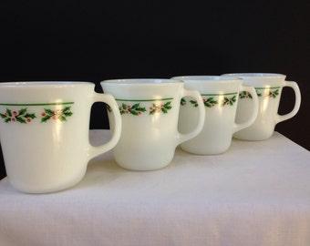 Pyrex - Corning - Holly Days -  Mugs - Set of Four 1980's - Holiday Mugs