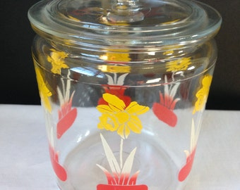 Glass Canister with Lid - Daffodils - Red & Yellow - Vintage Kitchen Decor