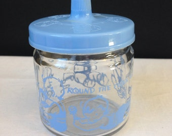 Round the Clock With Baby Jar Blue Accents