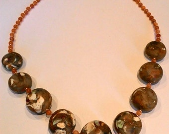 Polymer clay necklace imitation stone