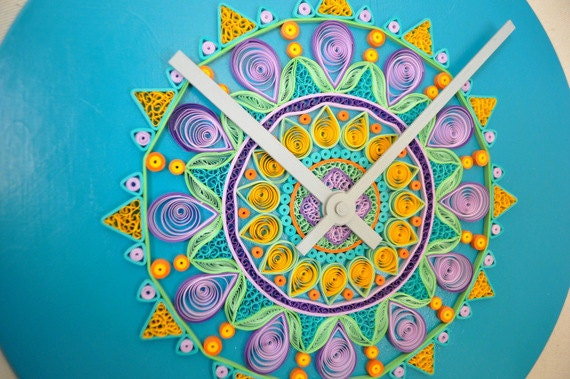 Quilled Art Wooden Clock