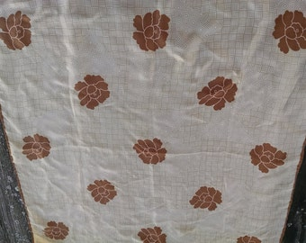 Specialty House Fashion Brown and Tan Square  Silk Scarf