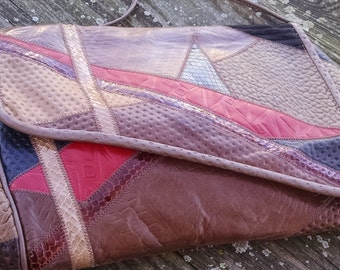 Seven handbags by Dimitri, Multi-color Handbag Patchwork Leather Satchel