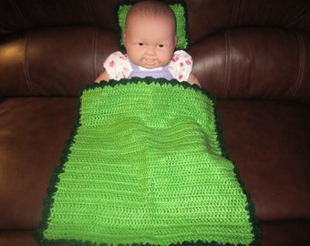 Green Baby Doll Blanket with Pillow