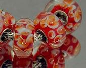 Redorange with White and Orange European Style Muran Charm Bracelet Bead - Green Bead - .925 Silver Core