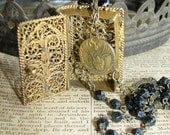 Beautiful Filigree Rosary Holder Necklace Assemblage