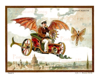 FANTASY Trade Card Circa 1890's man on flying machine with butterfly girl Digital Download