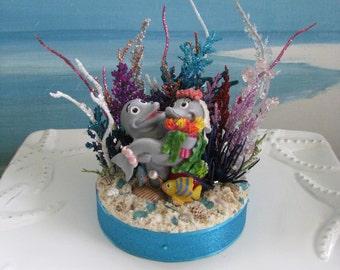 Dolphin Coral Reef Wedding Cake Topper~Seashell Beach Wedding Cake Topper