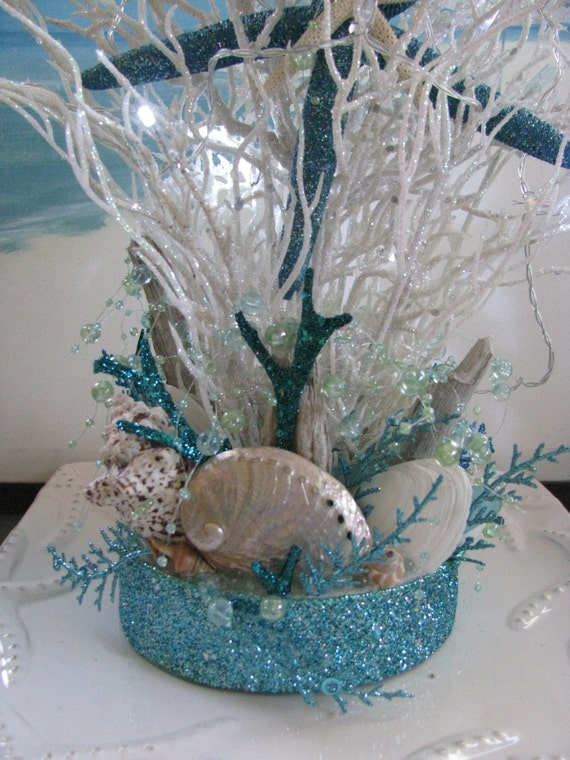 White coral beach centerpiece seashell