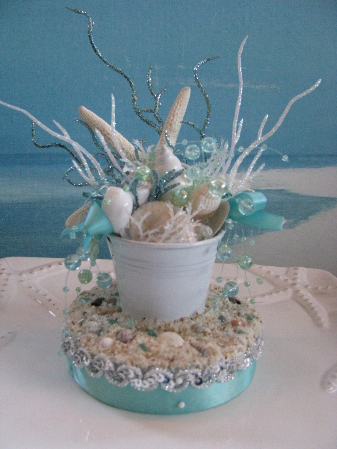 Sand pail beach wedding cake topper by ceshoretreasures on