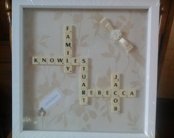 hand made scrabble tiles picture frame, personalised