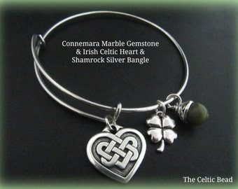 Irish Connemara Marble & Silver Bangle Bracelet with Celtic Heart Knot and Shamrock Charm - Stackable Bracelet - Trendy