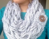 Arm Knit Infinity Scarf with Wood Button