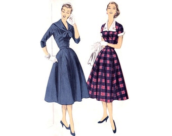 1950s Dress Pattern Advance 7848, Flared Skirt, V-Neckline, Sailor Collar or Contrast with Cuffs, Vintage Sewing Pattern Bust 36 Uncut