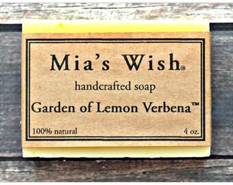 Garden of Lemon Verbena Soap, Lemon Soap, All Natural Cold Process Vegan Handmade with Coconut Milk, Murumuru Butter