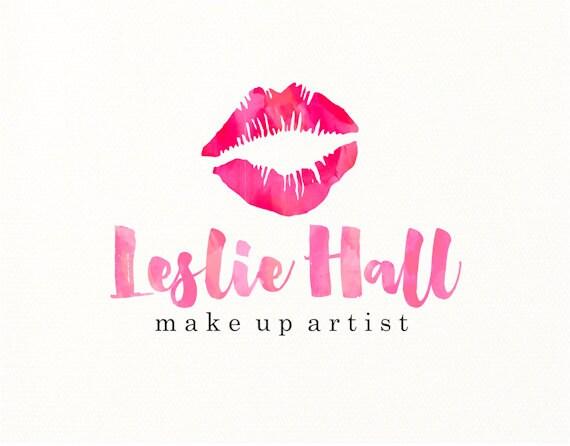 lips logo make up watercolor premade logo design logo design