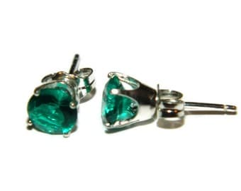 Emerald Earrings, 2.3 Carats, Sterling Silver Post Earrings
