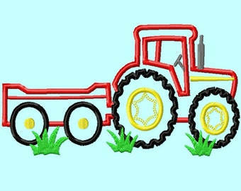 Tractor and Wagon APPLIQUE Embroidery Design 5,6,7,8 inches included  INSTANT DOWNLOAD