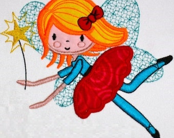 Flying Fairy Applique Embroidery Design Pattern  2 sizes INSTANT DOWNLOAD