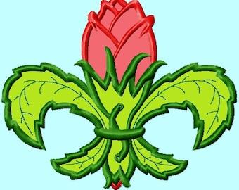 Fleur De Lis Rose Flower Applique Embroidery Designs INSTANT DOWNLOAD