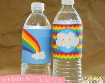 Rainbow Bottle Labels Printable PDF - Printable Party Supplies - Rainbow Birthday Party DIY