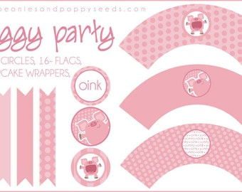 PIg Cupcake Labels Printable PDF - Printable Party Supplies - Pink Piggy Birthday Party DIY