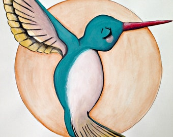 BLUE and Pink Humming Bird with golden wings + light orange back. a magical + whimsical ORIGINAL painting by LilliBean Designs FREE shipping